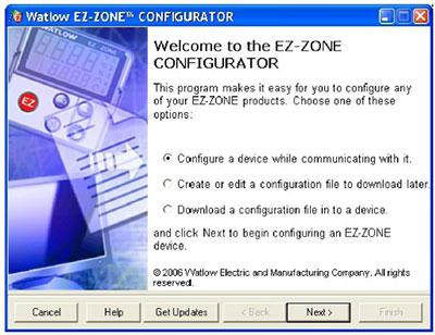 Interface example of EZ-ZONE Configurator Software